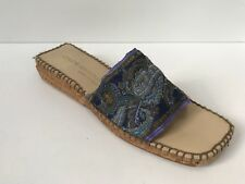 Andre Assous Sz 10 Paisley Fabric In Navy & Purple Slip On Espadrille Sandal