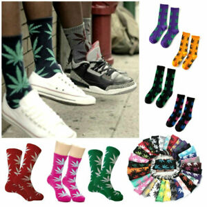 MARIJUANA LEAF SOCKS 44 Colors Medium Size Crew 420 Pot Weed Cotton Stretch NEW