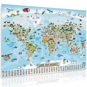 XXL Kinder Weltkarte Poster Wandbild Dekoration 140x100cm Deko für Kinderzimmer