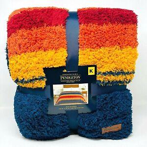 "NWT Brand New Pendleton Sherpa Fleece Grand Canyon Multi King Blanket 112""x92"""