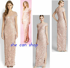 Tadashi Shoji Antique Pink Sequined Embroidered Lace Illusion Tulle Neck Gown 12
