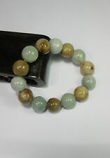 Natural Grade A light yellow/white  jade 10 mm beaded stretchy bracele(14 beads)