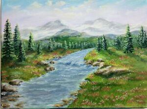"Art 16""/12"" oil painting,mountains river, landscape,nature #artforyou #mountains"