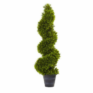 3' ARTIFICIAL GRASS SPIRAL TOPIARY FAKE TREE w/ DECO POT - (INDOOR/OUTDOOR)