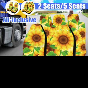 5PCS Car Seat Cover Sunflower Printed Front Seat Protective Mats Universal *