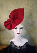 Vintage Style, 1940s Inspired Claret  Red Sculptured Felt Hat Can Be Worn 2 Ways