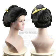 Beautiful Woman Bun Black Updo Cosplay Wig Ancient Beauty Geisha Full Hair Wigs