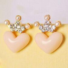 Pink Pearl Heart Earrings Princess Women Austrian Crystal Crown