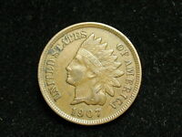 MARKED DOWN!! AU 1907 INDIAN HEAD CENT PENNY w/ FULL LIBERTY & DIAMONDS #82i