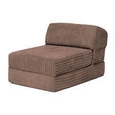 Mocha Bjorn Jumbo Cord Single Chair Sofa Z Bed Seat Foam Fold Out Futon Guest