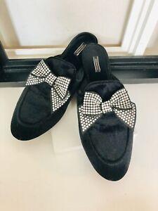 VICTORIA'S SECRET Velvet Bow Slippers, Black Rhinestone Size S