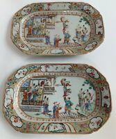 Rare Pair Of 18th Century Chinese Madarin Pattern Rectangular Dishes