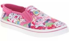 NEW Girl's Shopkins Slip-On Canvas Shoes Fun All Over Character Print Size 3