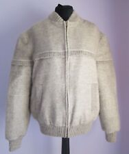 VTG Ladies ALAFOSS ICEWOOL Beige Lined Zipped Pure Wool Jacket Size XL(14f)