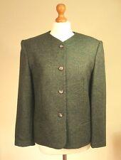 Laura Ashley UK 12 Pure New Wool Green Tweed Tailored Jacket Lined EU 38 US 8
