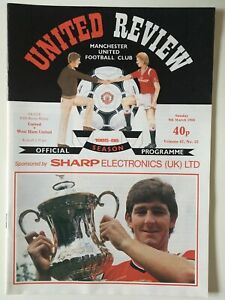 Manchester United v West Ham football programme, 9 March 1986