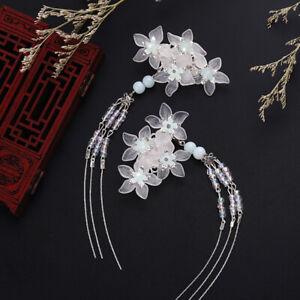 2 PC Retro Flower bead Tassel Hairpins for wedding Kimono Hanfu wedding cosplay