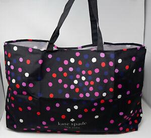 NEW Kate Spade Women's Black Pink Blue Polka Dot Large Tote Reusable Bag Shopper