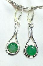 Smaragd Ohrhänger 925 Silber Klappscharnier fac. runde Edelsteine mod. neu