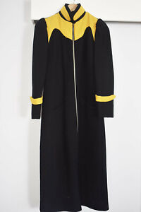 INCREDIBLE VINTAGE RETRO Ladies Long Wool Coat Black and Yellow Size 8 GOTH