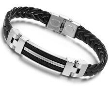 LEDERARMBAND geflochten Edelstahl Armband Herren Leder schwarz Männer Trend  NEU