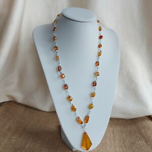 BALTIC AMBER Necklace, Amber Beaded Wire Wrapped and Kite Shaped Pendant Retro