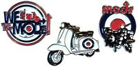 MOD Scooterist Enamel Badge Set Scooter We Are The MODS & RAF Target Roundel NEW