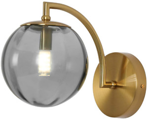 Modern Wall Sconce Mid Century Style with Glass Shade G9 Brass Finish Home Decor