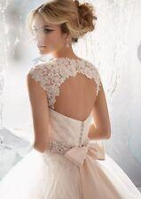 Sleeveless White/Ivory Lace Shawl Bolero Wedding Jacket Bridal Wrap Custom Size