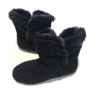 Vionic Womens Cozy Kari Bootie Slippers Black Knit Faux Fur Home Comfort Size 8