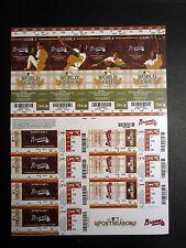 Atlanta Braves 2011 Phantom Playoff Postseason Uncut Sheet Unused Ticket Stub