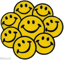"""SMILEY FACE  -MULTI FACE EMBROIDERED PATCH 9CM X 9CM(3 1/2 X 3 1/2"""")"""