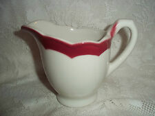 Syracuse China Vtg. Creamer/Syrup Pitcher, White w/Maroon Edge