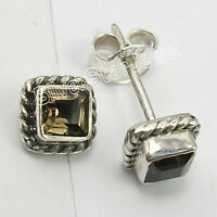 """925 Solid Silver SMOKY QUARTZ Oxidized Earrings 0.3"""" Antique Style"""