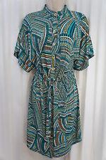 Laundry By Shelli Segal Dress Sz XS Blue Brown Multi Color Button Down dress