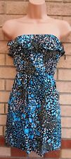 MISO BANDEAU WHITE BLUE BLACK FLORAL BLOUSE CAMI  TOP T SHIRT TUNIC VEST 10 S