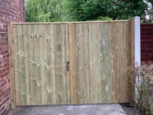 Wooden Driveway Gates High Quality Pressure Treated Redwood Bespoke Gates