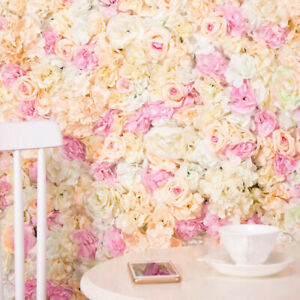 Artificial Rose Flower Wall Panels Backdrop Bouquet Wedding Party Home Decor