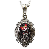 Sugar Skull Cat Day Of Dead Muertos Halloween Cameo Necklace Costume Jewelry