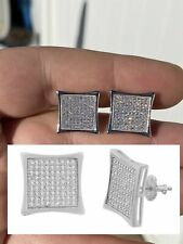 "Mens Real Large 1/2"" Kite Earrings Solid 925 Sterling Silver Iced 3ct Diamonds"