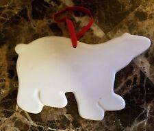 NEW POTTERY BARN WHITE CERAMIC POLAR BEAR CHRISTMAS ORNAMENT