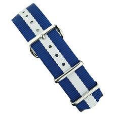 B & R Bands 20mm Blue/White Premium Nylon Military Style Watch Band Strap