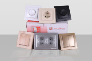 Wall Sockets, switches, frames - white color