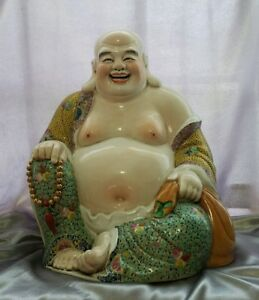 "19"" Antique Chinese Famille Rose Porcelain Laughing Buddha Qing Dynasty - Marked"