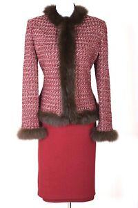 ST.JOHN Couture Womens Burgundy Silver Shimmer Fur Trim Jacket Skirt Sz 12-14