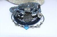 Armband Set Perlen 5 Teile Blau Grau Schwarz Silber Kleeblatt Strass Kristalle