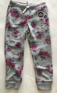 OSH KOSH Girls Grey SWEATPANTS Roses Flowers NEW 4 4T