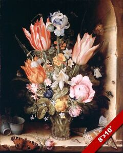 VASE OF TULIPS & OTHER BLOSSOMS PAINTING FLOWERS GARDEN ART REAL CANVAS PRINT