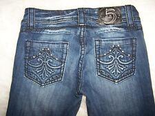 Womens Studio 5 Bootcut Blue Denim Jeans Size 27 Factory Fading Rhinestones EUC