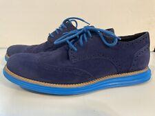 Cole Haan LUNARGRAND Wingtip Suede Oxford Shoes Blue Sz 8 Men's